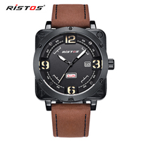 בסין למעלה ספורט Mens קוורץ שעונים הלם צבא צבאי רצועת עור אמיתי hodinky עמיד למים שעוני יד Reloj Hombre