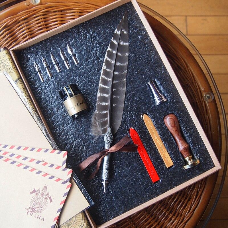 Stylo plume de luxe avec 5 plumes 1 encre étamine porte-stylo de cire de mer calligraphie rétro sculpture cadeau de mariage signe Dip stylo