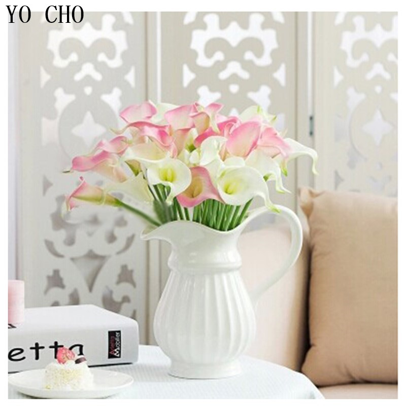 (6 PCS/lot) Beautiful Fake Flower Real Touch Flower Pink Artificial Calla Lily Buds Plastic Flowers Home party Decoration