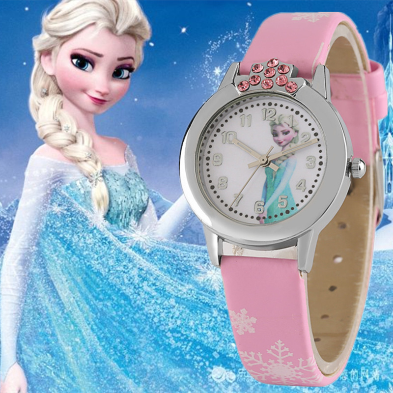 Watch For Kids Children Animated Film Princess Frozen Girls Watches Rhinestone Leather Band 2018 New Fashion Christmas Gifts
