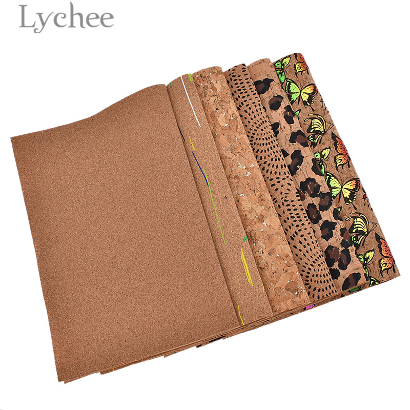 Lychee Life 29x21cm A4 Vintage Soft Cork Fabric High Quality Sewing Synthetic Leather DIY Material For Handbag Garments