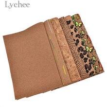 1ec219a2c2e78 Lychee Leben 29x21 cm A4 Vintage Weichen Kork Stoff Hohe Qualität Nähen  Synthetische Leder DIY Material Für Handtasche kleidungs.