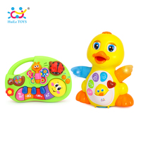 HUILE TOYS Dancing Duck Toy Figure Action Toy With Flashing Lights Electric Piano Baby Toys 927