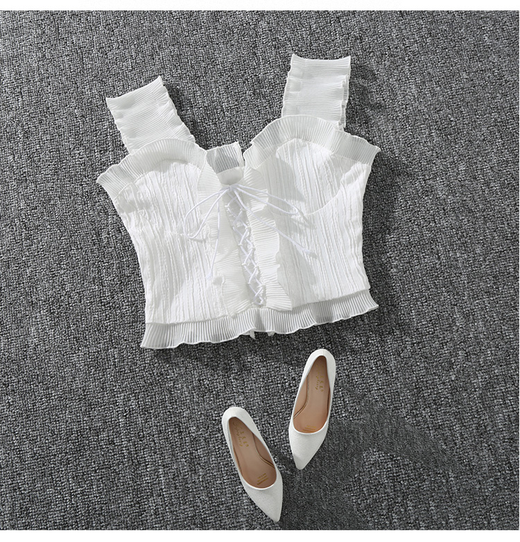 Shintimes 18 New Summer Autumn Bustier White Black Tank Top Female Sexy Bandage Sleeveless Crop Top Zipper Woman Clothes 4