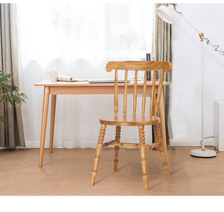 Solid Wood Dining Chair American Village Retro Nordic Solid Wood Chairs Modern Minimalist Hotel Coffee Restaurant Windsor Chair