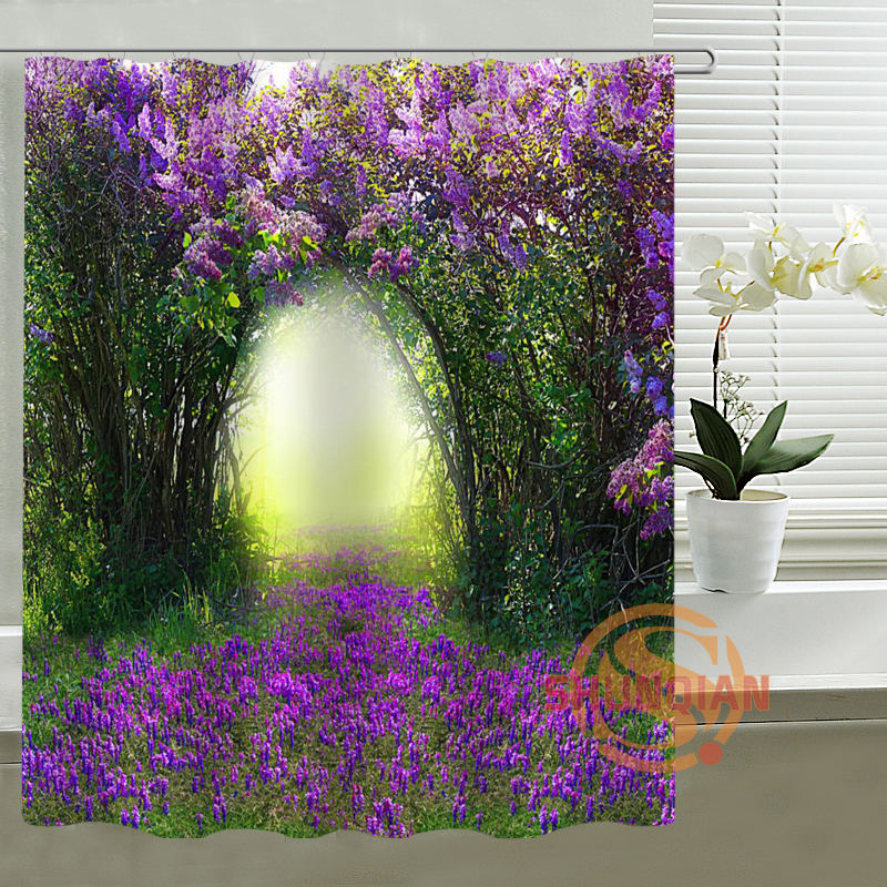 2017 New Custom Waterproof Shower Curtain Spring scenery Bath curtain polyester Fabric Shower Curtain For Kids