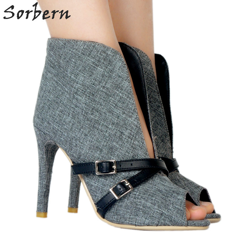 Sorbern Grey Size 45 Womens High Heel Shoes Stiletto Heels Ankle High Women Boots For Women Handmade Shoes Chinese Size 34 48