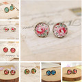 10pairs/lot Cute Flower Stud Earrings Mixed Lot Vintage Small Glass Cabochon Post Earrings for Girl 10mm rd0003