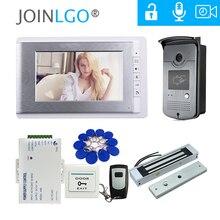"""Com fio 7 """"telefone video da porta sistema de vídeo porteiro campainha 1 monitor 1 câmera rfid + fechadura magnética elétrica frete grátis"""