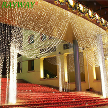 6M x 3M 600 LED Ev Xarici Tətil Milad Dekorativ Toy Xmas String Fairy Pərdə Garlands Strip Party İşıqlar 110V220V