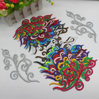 Żelazko na aplikacja lustro sparowane Cosplay Custome haftowany kwiat naszywki ze srebrnymi krawędziami wykończenia 18-9cm tanie i dobre opinie Yackalasi Odzież akcesoria Floral Składane Konopi Pełna haft Klasyczny Kolorowe pudełko