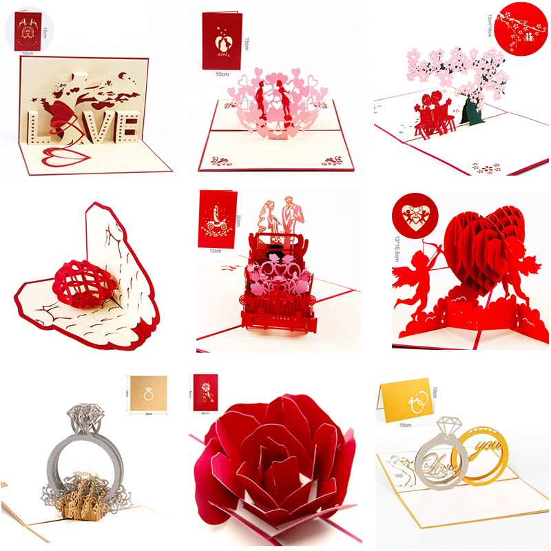 1pcs Romantic Valentine\u0027s day wedding invitations 3D love greeting