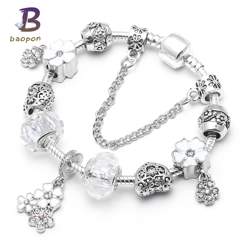 BAOPON Silver Color Dazzling Daisy Pendant Charm Bracelet Clear CZ Pink Glass Beads Pandora Bracelets for Women DIY Jewelry
