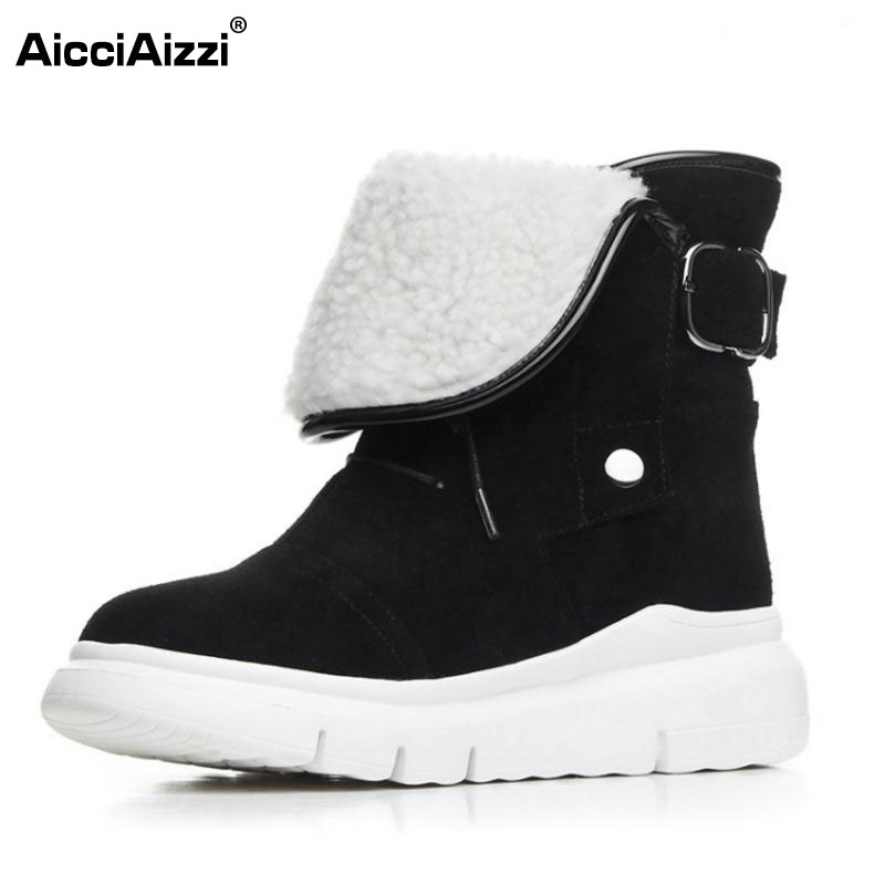 AicciAizzi Women Genuine Leather Wedges Boots Thick Fur Snow Boots Ankle Boots Cold Winter Botas For
