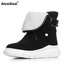 Aicciaizzi Для женщин Ботильоны из натуральной кожи на платформе зимние ботинки на меху Ботильоны холодной зимы Botas для Для женщин обувь Размер 34–39