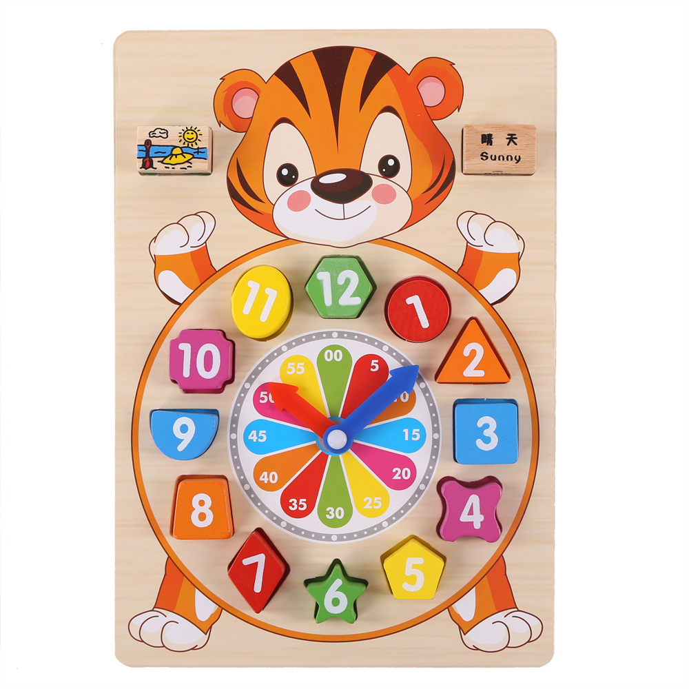 Baby toys wooden block clock building blocks education montessori table game kids toy for children teaching gifts XWJ335-