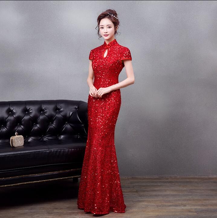 5ccffefbc29 2018 Red Long Qipao Sequin Mermaid Wedding Bridal Cheongsam Dress Modern  Chinese Traditional Dress women s evening