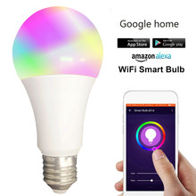 Led inteligentne WiFi żarówka led E27 E26 B22 kolor rgbw zmiana LED WiFi lampa światła dla Google Home Alexa Echo pilot(China)