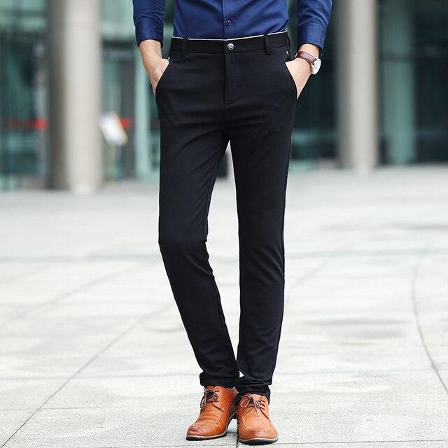 Primavera nuevos hombres de calidad superior del pantalón slim fit para  hombre flaca Pantalones desgaste formal 616bf5ec7237