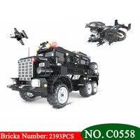 C0558 2393 шт. SWAT серии Riot бронированный автомобиль строительные блоки набор мальчиков DIY Кирпичи игрушки для обучения детей отличный подарок