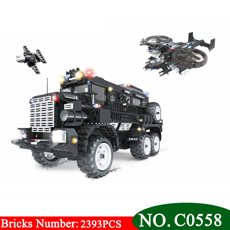 цена на C0558 2393PCS SWAT series Riot armored vehicle Building Blocks set Boys DIY Bricks Toys for Children Learning Great Gift