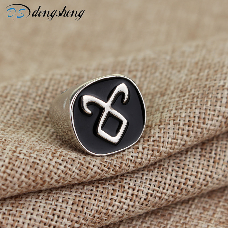 dongsheng The Mortal Instruments City Of Bones Angelic Power Rune Rings Vintage Alloy Metal Ring With Black Enamel Rings -25