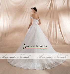Image 2 - גלימת דה soiree לונג 2020 כבוי כתף רצועות אונליין חתונה שמלות חדש אמיתי תמונות