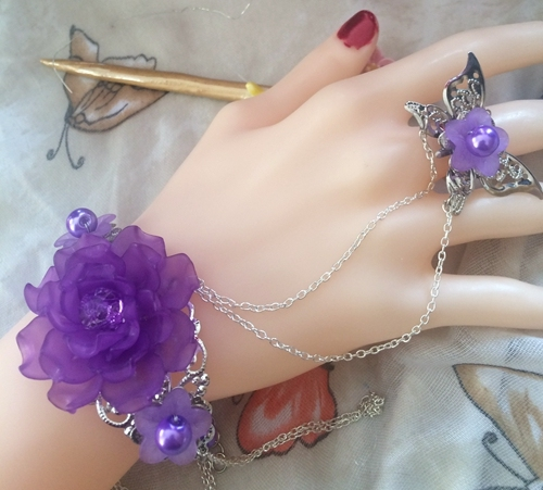 Shining sexy beaded purple flowers princess girl gloves dancing party performance lady chain bracelet gloves