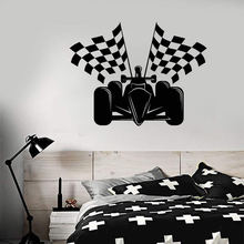 Auto Racing Formula 1 Car Flags Wall Stickers Home Decor Vinyl Theme For Kids Room Boys BedroomZW371