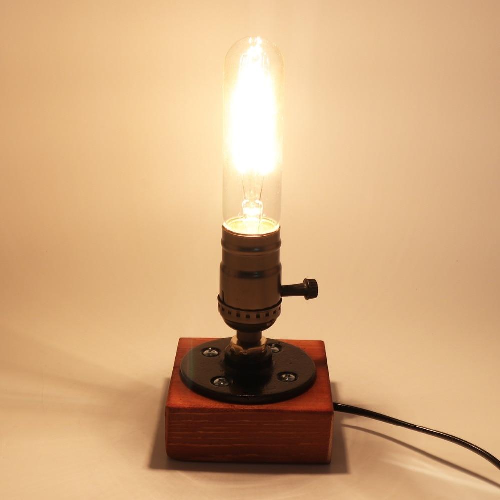 все цены на Hot sale Retro Style Vintage Industrial Single Socket Table Bedside Desk Lamp Wooden Base Creative Edison Light Bulb онлайн