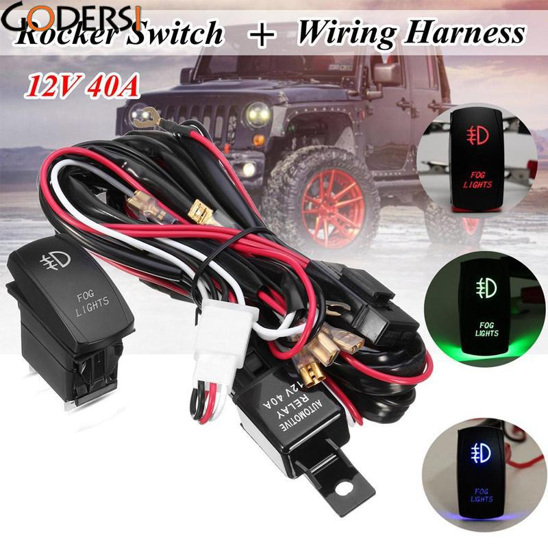 Godersi Universal 12V 40A Wiring Harness LED Spot Driving Light Wiring Harness Kit Fog Light High Beam Laser Rocker Switch Relay