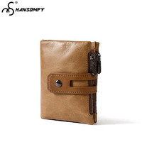 Men's wallet Genuine Leather retro Short 2 fold Wallets Top Layer Leather Multi Card Zipper Clutch card holder Coins male purse