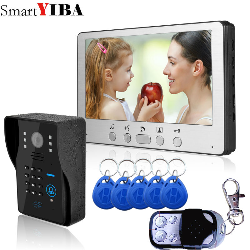 SmartYIBA Video Doorbell 7''Inch Monitor Wired Video Door Intercom Door Phone System RFID Access Camera For Home Security homsecur 7 wired video door phone intercom system rfid access with memory monitor for home security