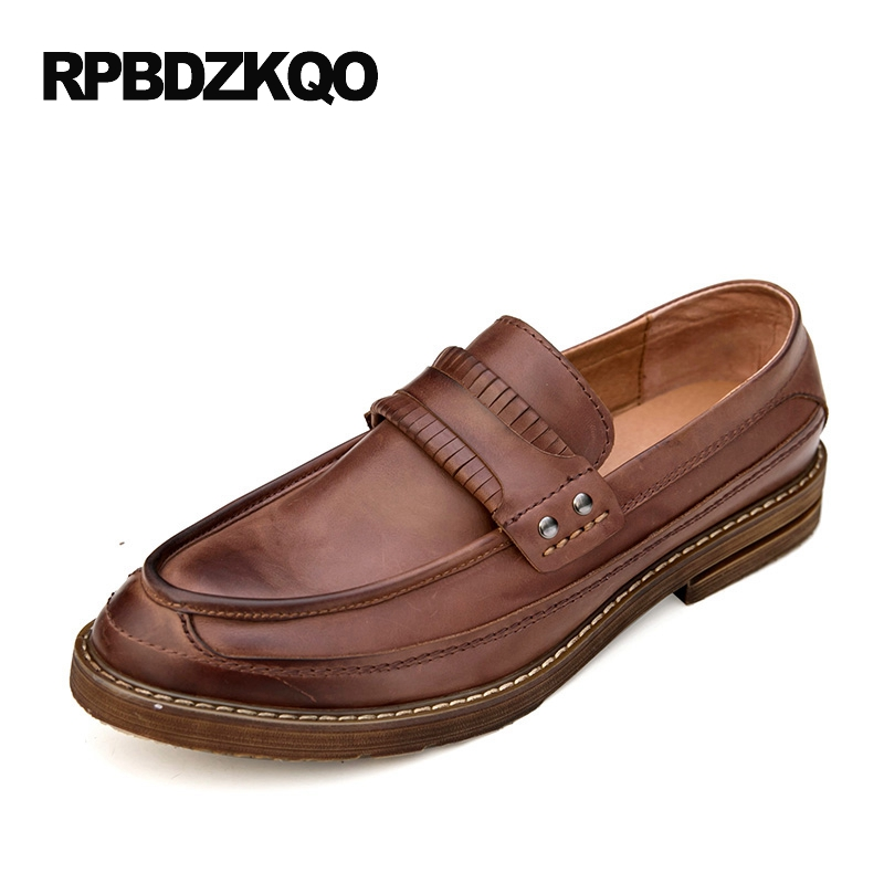 Brown British Style Spring Men Casual Shoes Vintage Black Loafers European Slip On Genuine Leather Real Popular Fashion Spring cbjsho british style summer men loafers 2017 new casual shoes slip on fashion drivers loafer genuine leather moccasins