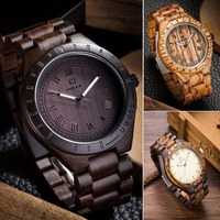 New Wooden Watches Men Vintage Zebra Wood Case Mens Wristatch Ebony Wood Face With Zebra and Black Wood Watch Japanese movement