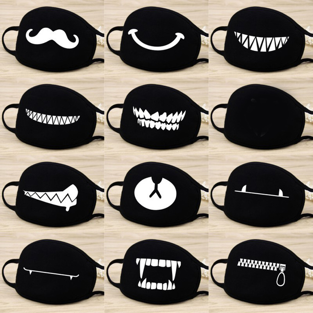 1 Pcs Cotton Masks Keep Warm Cartoon Funny patten Face Mouth Mask Unisex banquet party Mouth Muffle Respirator black 12 Style 1