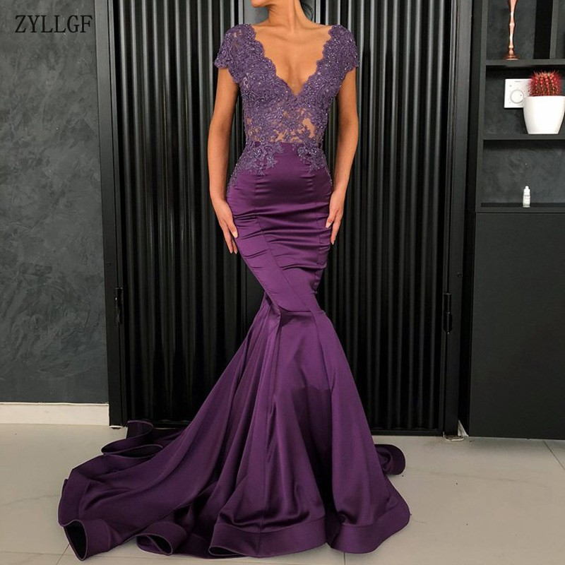 ZYLLGF Long Evening Dress 2018 Sexy Mermaid V-neck Cap Sleeve Beaded Lace  Purple Arabic 75408fd759b4