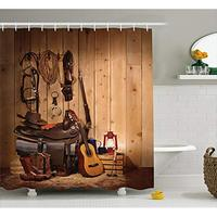 Vixm Western Decor Shower Curtain by American Texas Country Music Guitar Cowboy Boots USA Folk Culture Fabric Curtains