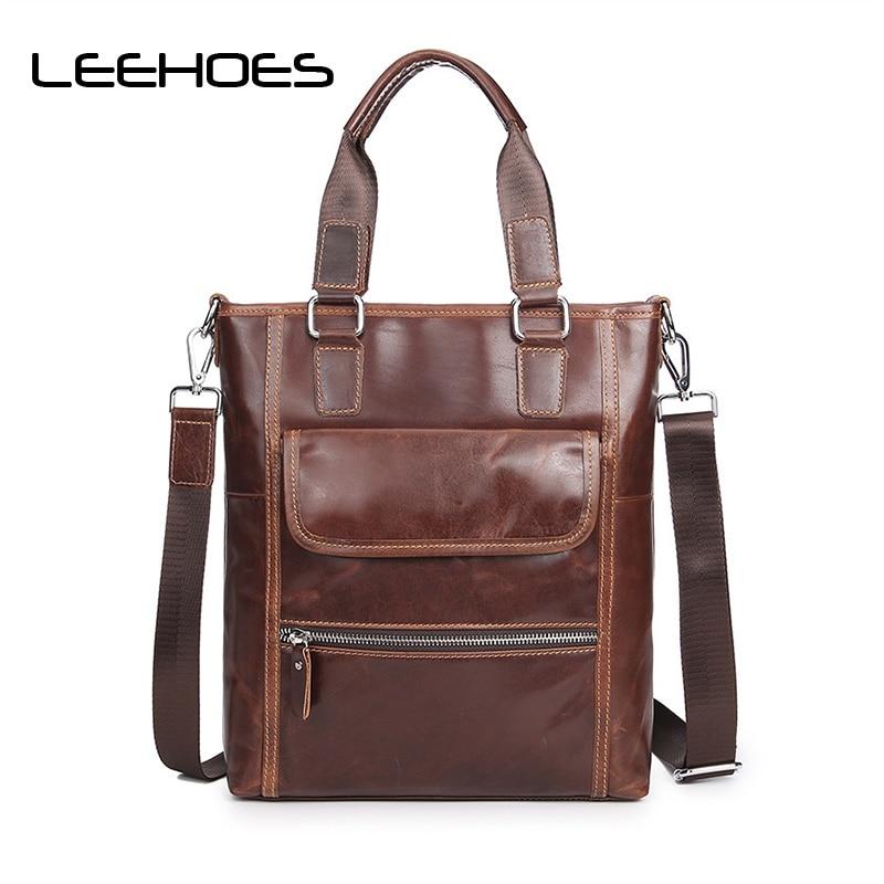 Designer Fashion Men Tote Casual Briefcase Business Shoulder Coffee Leather High Quality Messenger Bags Laptop Handbag Men's Bag все цены