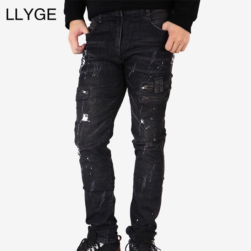 LLYGE Для мужчин s рваные зауженные джинсы черные джинсы Для мужчин плиссированные мото байкерские джинсы хип хоп молния манжеты Strech для мужчи