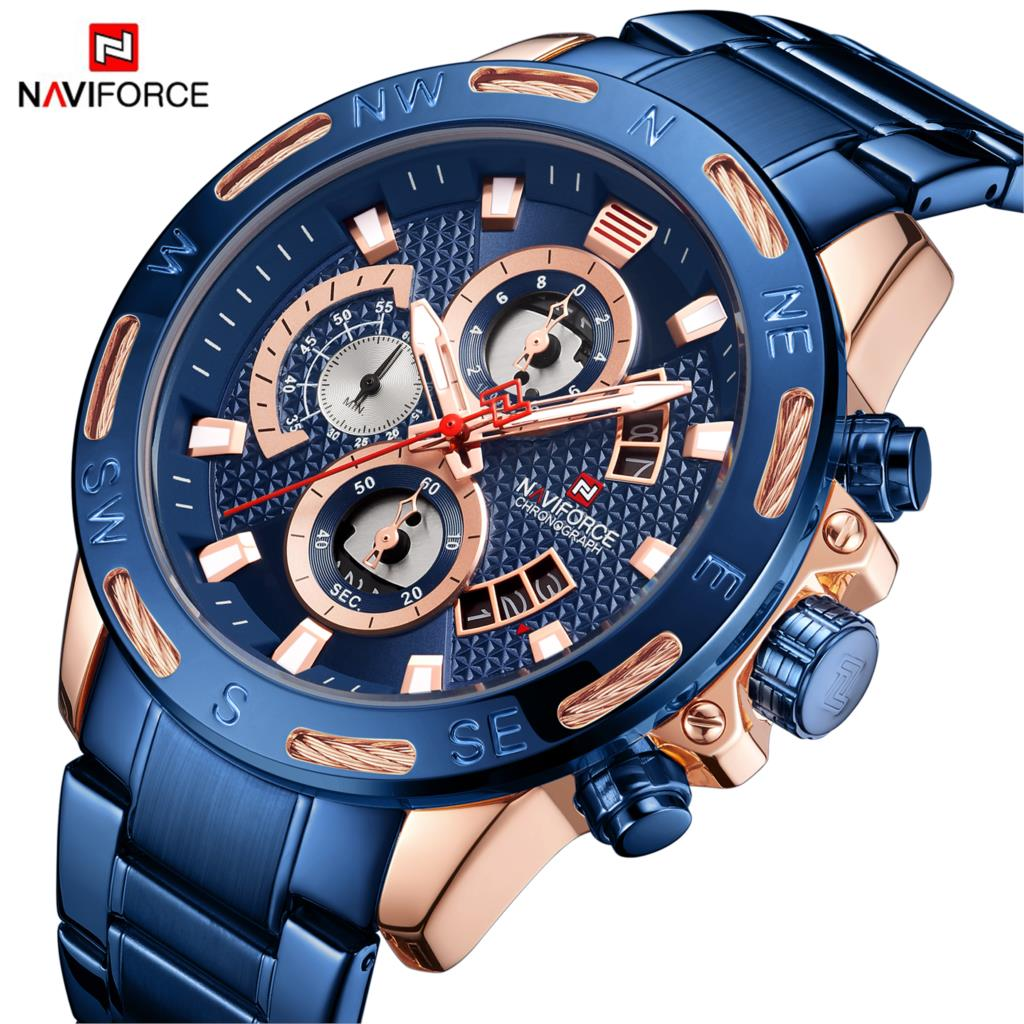 2019 NAVIFORCE Fashion Mens Watches Top Luxury Brand Military Male Clock Analog Quartz Watch Men Sport Chronograph Watch