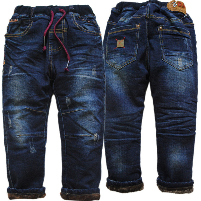 3991 very very warm winter boys jeans pants denim and fleece Double-deck   trousers kids children's clothing boy fashion