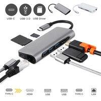 USB C 8 in1 USB C to Type C USB Multi 3.0 HDMI RJ45 Ethernet Micro SD TF OTG Hub Dropshipping