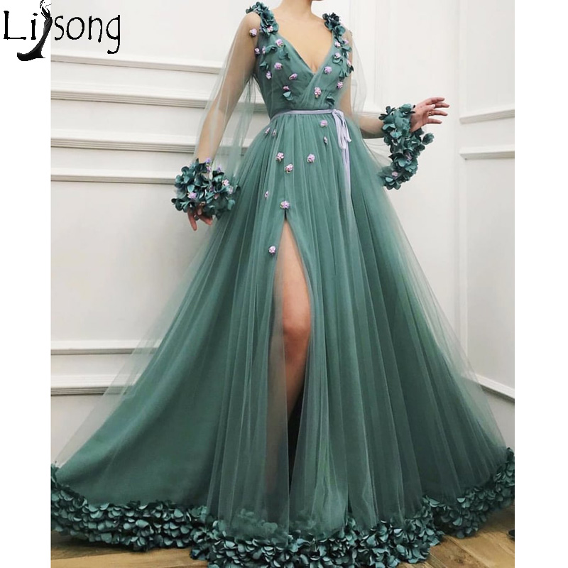 Elegant Long   Prom     Dresses   V Neck Tulle Long Sleeve Evening   Dress   Unique Floral Petals High Split Formal   Dress   Robe de soiree
