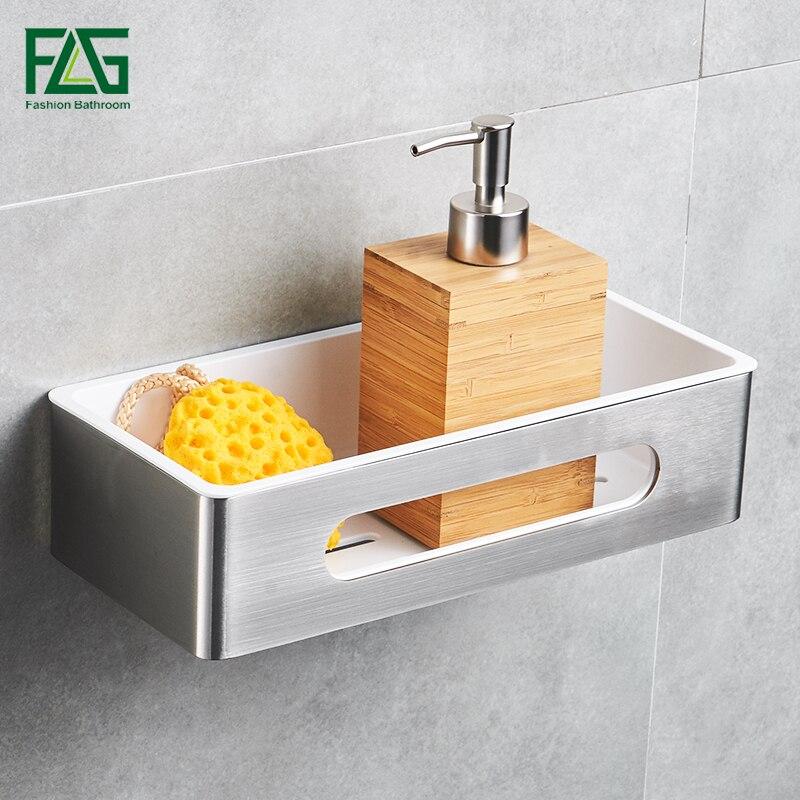 FLG Bad Regal Wand Halterung Einreihigen Edelstahl & ABS Kunststoff Bad Halter Dusche Zimmer Quadrat Warenkorb Bad G117