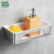 FLG Bathroom Shelf Wall Mount Single Tier Stainless Steel & ABS Plastic Bathroom Holder Shower Room Square Basket Bathroom G117 leyden high quality glass square shelf stainless steel wall mount orb brushed nickel chrome with glass single tier bath shelf