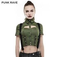 PUNK RAVE Rivet Studded Leather Matching Sexy Military Uniform Shirt