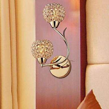 Lustre,Goldern Modern Crystal LED Wall Light Lamp With 2 Lights For Bedroom Living Room Wall Sconce Free Shipping free shipping chrome finish modern wall lamp bedroom sconce with cylinder crystal lamp shade
