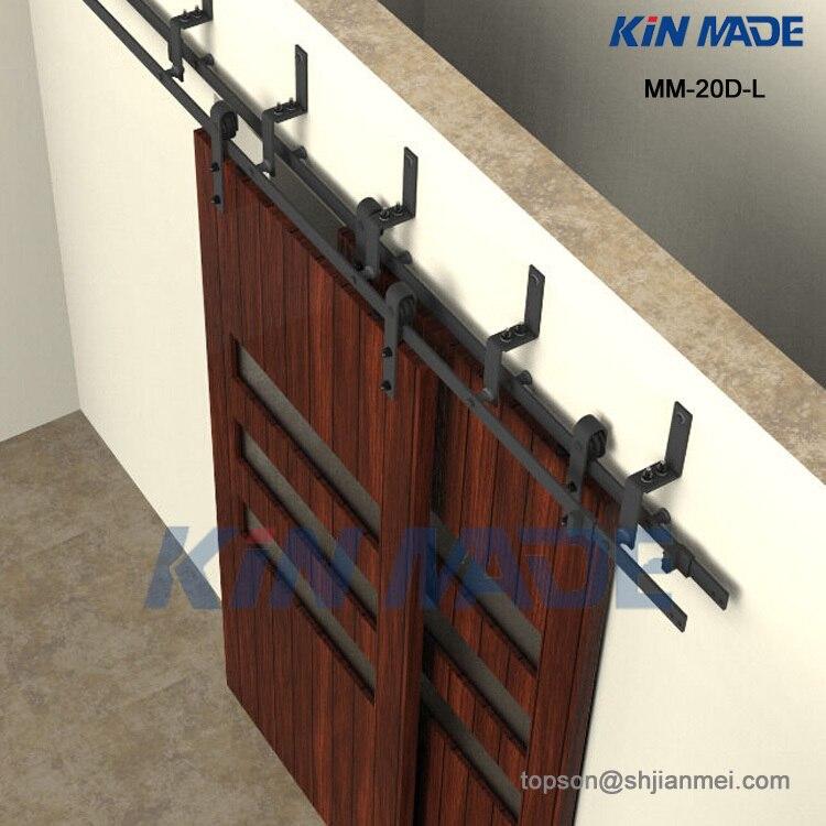mmdl bypass doble deslizante granero de madera maciza armario puerta rstica hardware negro