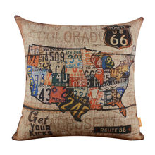 LINKWELL 18x18 Vintage Route 66 American Map USA Burlap Home Cushion Cover Throw Pillowcase Man Cave